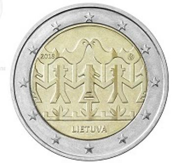 2 euros -CC- Lituania - 2018-Dance and song
