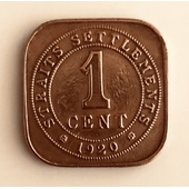 1 Cent 1920 Straits Settlements Imperio Británico
