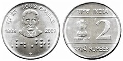 2 rupees (Louis Braille) from