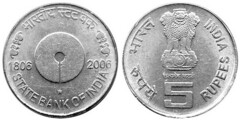 5 rupees (200 Años del Banco Estatal de India) from