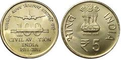 5 rupees (100 Aniversario de la Aviación Cívil) from
